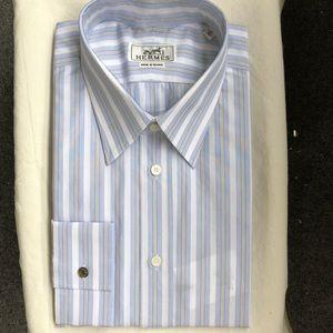New Authentic Hermes Dress Shirt Blue Size 17/43